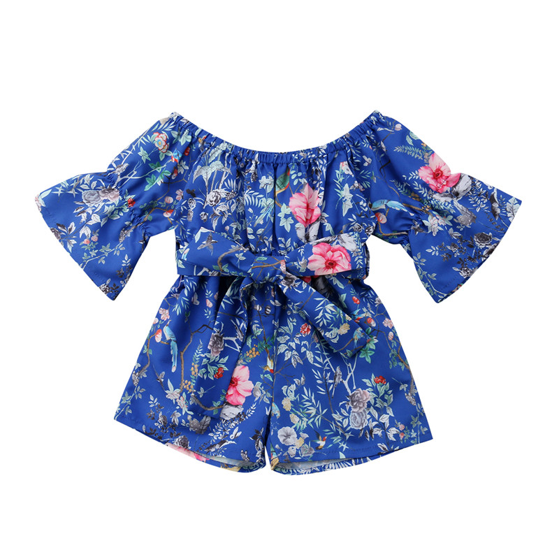 Newborn Infant Baby Girl Floral   Romper   Jumpsuit Sunsuit Toddler Girls Summer Princess Bowknot Bandage   Rompers   Clothes Overalls