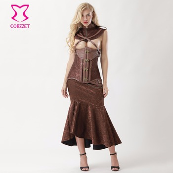 Fashion Women Sexy Underbust Corset Mermaid Skirt Set Steampunk Dress Gothic Clothing Corsets and Bustiers Burlesque Dresses