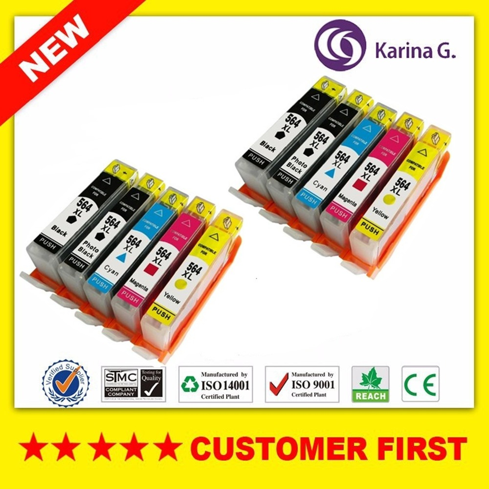 10PCS For HP 564XL HP564XL hp564 Ink Cartridges for HP Inkjet Printer PhotoSmart 7510 7520 7525 C6350 B8550 HY Inks set