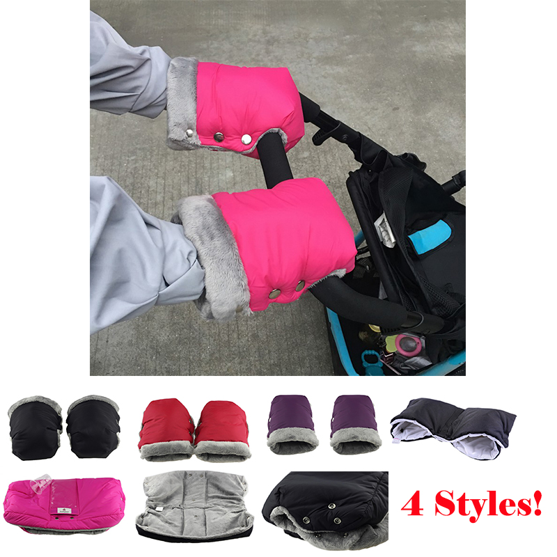 Winter Warm Fur Fleece Pram Hand Muff Baby Carriage Pushchair Hand Cover Buggy Clutch Cart Muff Glove Stroller Accessories
