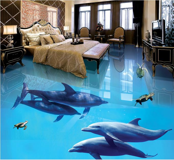 Pvc Floor Wall papers Home Decor Self adhesive Wallpaper Dolphin 3d Floor Wallpaper Mural papel de parede 3d europeu custom floor wallpaper beach shells and starfish bathroom floor mural paintings self adhesive waterproof wall papers home decor