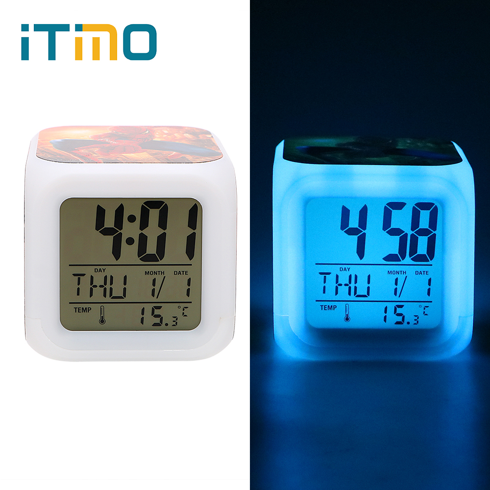 ITimo Color Change Digital Alarm Clock Table Lamp Bedside Lamp Gift For Friend Aand Children Glowing LED Night Light