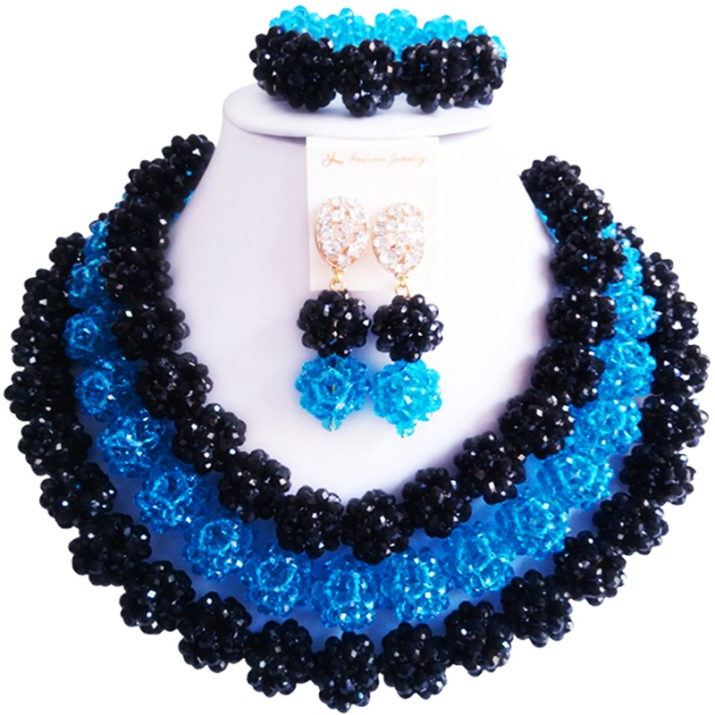 Beautiful Black Lake Blue African Style Women Crystal Engagement Necklace Jewelry Set 3C-SJTQ-20 цены