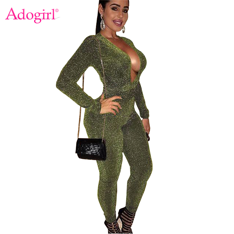 Adogirl Metallic Glitter Women Bandage Jumpsuit Sexy Deep V Neck Long Sleeve Romper Bar Night Club Party Bodysuit Overalls