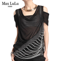Max LuLu Luxury European Brand Designer Girls Sexy Crop Tops Tees Womens V Neck Lace T Shirts Summer Woman Denim Tshirt Camiseta