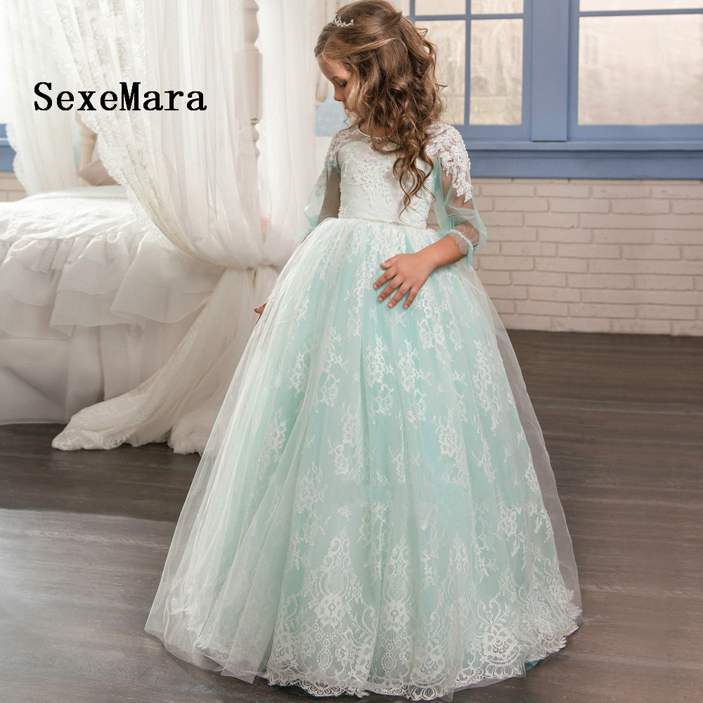 2018 blue ball gown lace girls dresses with beaded sash flower girl dresses for wedding birthday party dresses long sleeves blue lace up design cold shoulder long sleeves jumpsuits