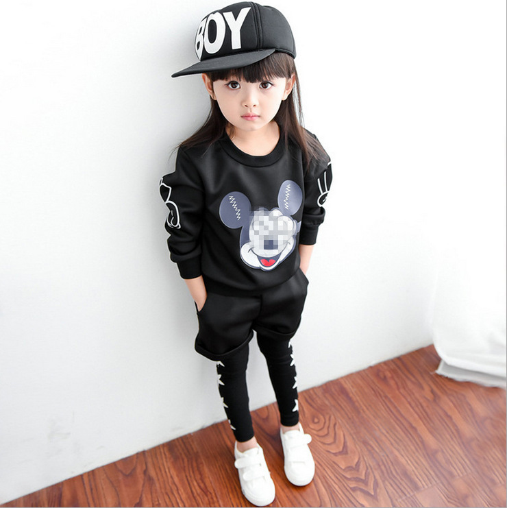 girls autumn and winter tracksuit 2pcs clothes for baby girl cartoon mouse suit children and kids clothing suit enfant cloth 2016 new type of cotton children tracksuit suit girls underwear baby home clothes and children s clothes