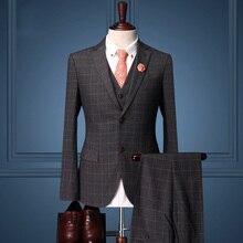 Pre Sale men formal business wedding groom dress suit sets dinner suits plaid suit coat+vest+pant retro men slim fit suit