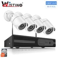 NVR Kits Plug And Play 4CH 1080P NVR CCTV System HD 1080P IP CAMERA Wireless Surveillance