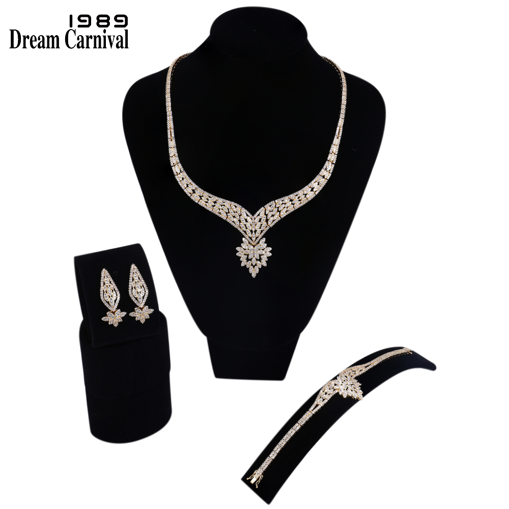 DreamCarnival 1989 Royal Engagement Wedding Party Gold-color Clear White Cubic Zirconia 3 pieces Jewelry Set for Women SN04767