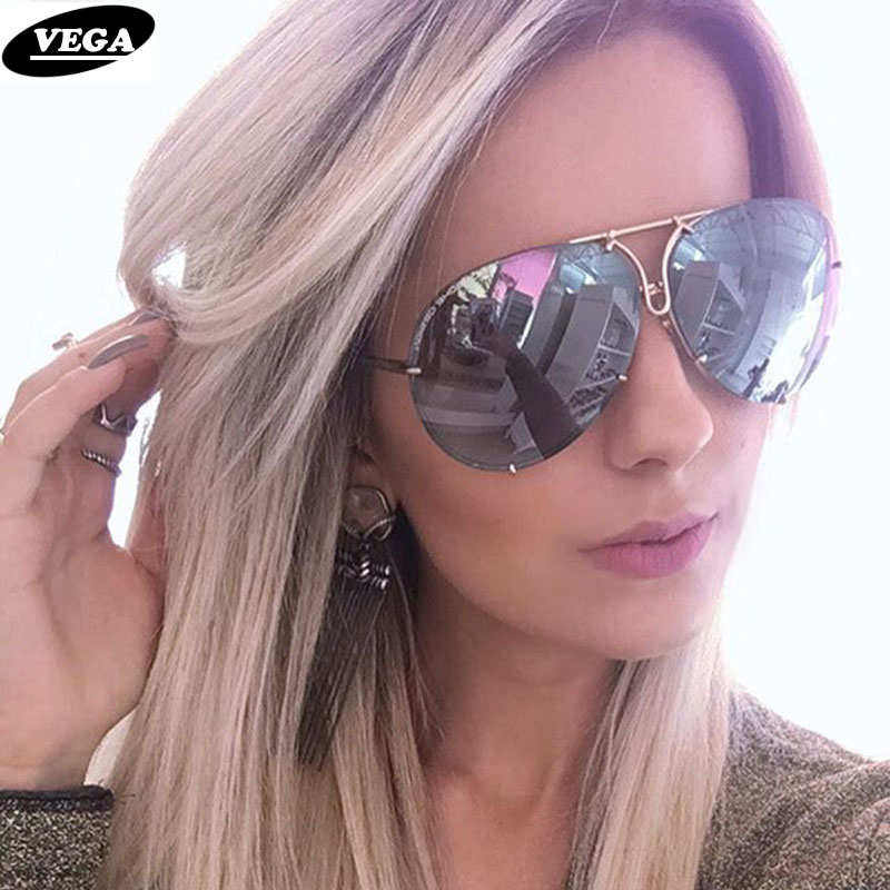 VEGA 2018 Big Solbriller Kvinder Damer Large Aviation Solbriller Kvinder Oversized Glasses Oversize Sunglasses Women Rimless VG06