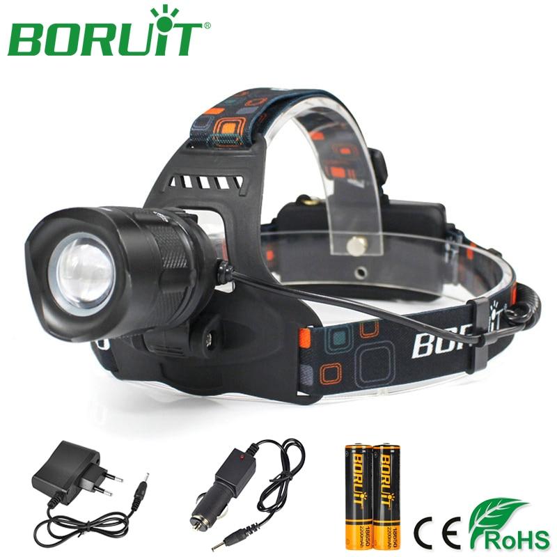 BORUiT XM L2 LED Headlamp Flashlight Rechargeable Camping Hunting Headlight Lantern Lamp Waterproof Head Torch Light