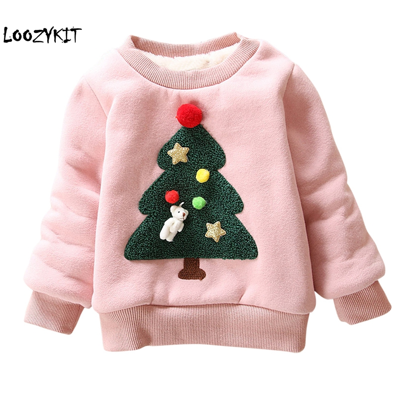Loozykit Children Hoodies Sweater Outerwear Christmas-Tree Long-Sleeves Baby-Girls Winter
