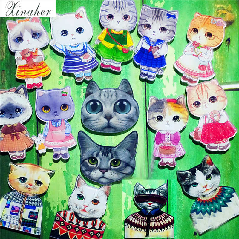 XINAHER Cute Carton kawaii cat clothes acrylic pins icon decorating badge backpack button badges brooches for clothes
