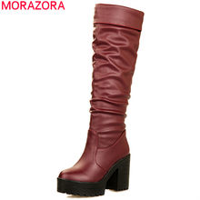 MORAZORA 2019 hot sale high heels platform boots women pu round toe autumn winter knee high boots warm party prom shoes woman(China)