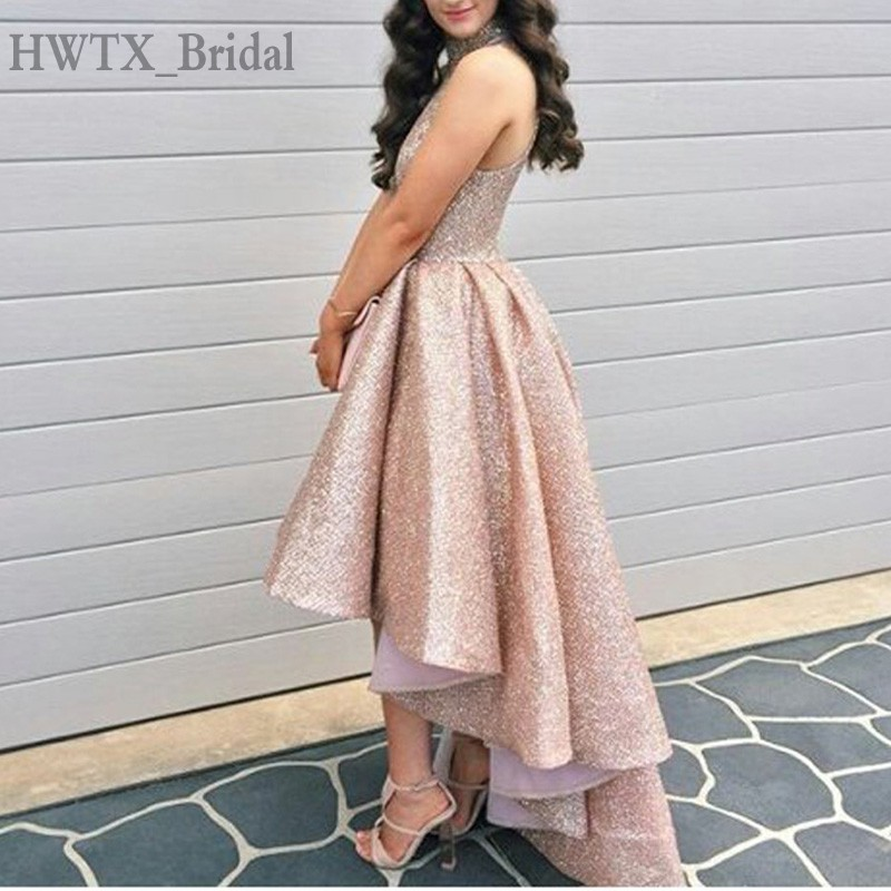 Sparkly Rose Gold Sequined Mother Of The Bride Dresses High Neck Plus Size Hi Low Arabic Elegant 2018 Prom Formal Evening Gowns