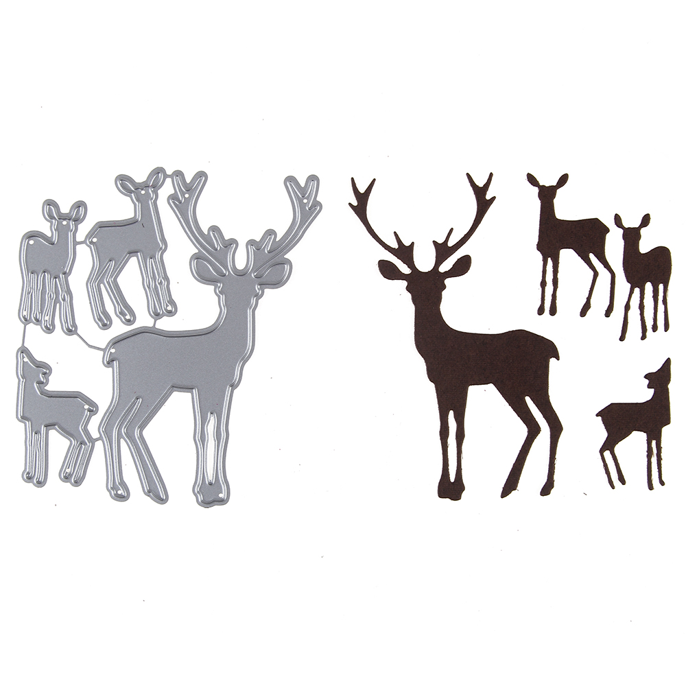 HamyHo Christmas Deers Set Frame Metal Steel Embossing Template Cutting Dies Stencil For DIY Scrapbooking Card Album Craft dies