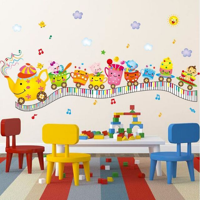 Train Wall Decor aliexpress : buy new animal cup toy small train wall stickers