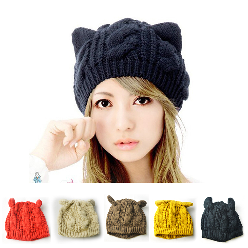 Womens Winter Knit Crochet Braided Cat Ears Beret Beanie Knitted