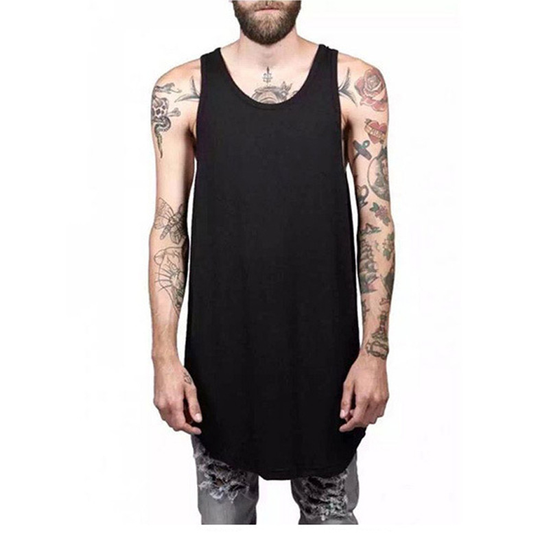 Cotton Streetwear Solid color sleeveless vest Gym   tank     top   men long line Sports bodybuilding Hip Hop shirt mens clothing WGTX165