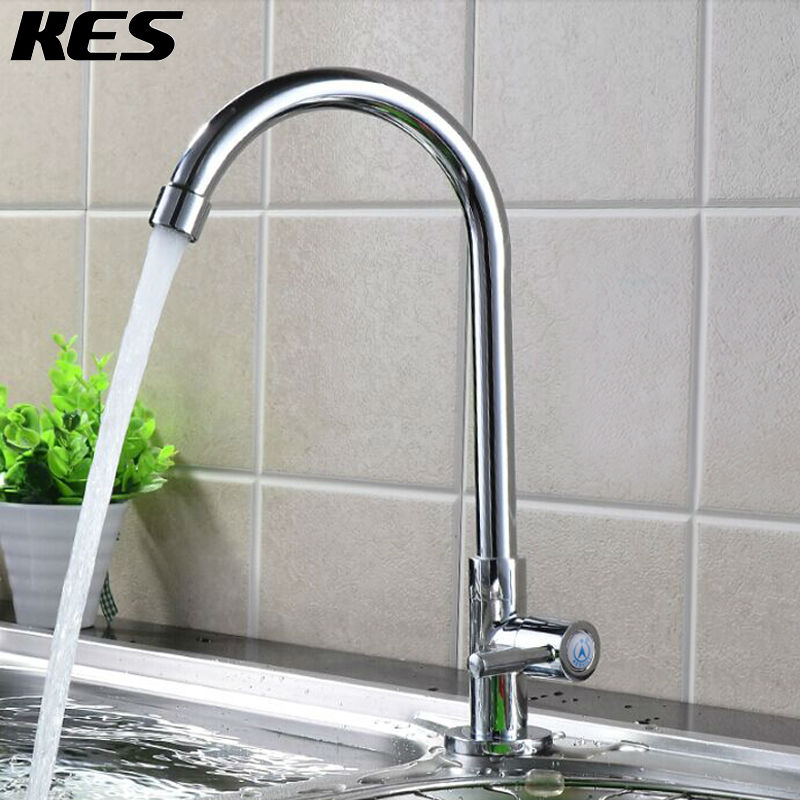KES Lead-Free Kitchen Faucet Single Handle Bar Sink Faucet Cold Water Only Brass Modern Replacement Tap,Chrome/Brushed