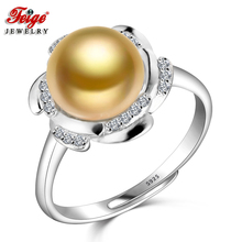 Flower 925 Sterling Silver Pearl Ring for Women Engagement Jewelry 9-10MM Golden Freshwater Rings Fine Gifts FEIGE