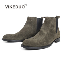VIKEDUO Autumn Cow Suede Leather Flat Chelsea Boots Green Color Handmade Military Ankle Bespoke Round Toe Botas de Hombre