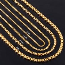 Ширина 2 мм/3 мм/4 мм/5 мм Золотая круглая цепочка из нержавеющей стали никогда не выцветает Водонепроницаемая