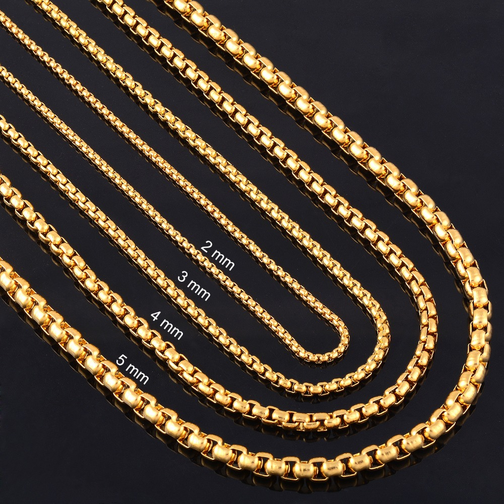 Width 2mm 3mm 4mm 5mm Gold Stainless Steel Round Box Link