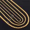 Width 2mm/3mm/4mm/5mm Gold Stainless Steel Round Box Link Chain Never Fade Waterproof  Wholesale