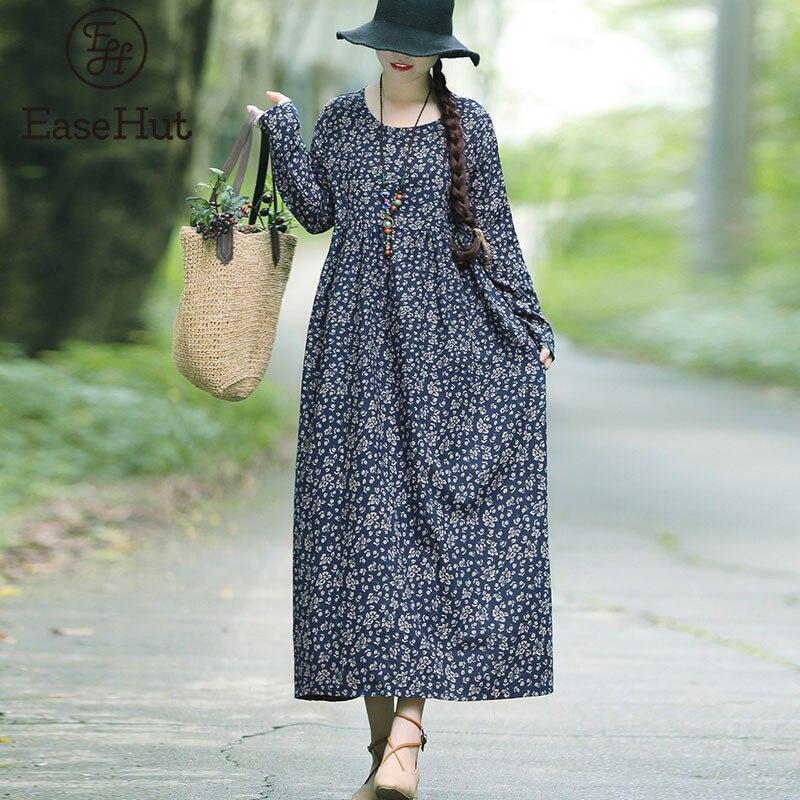 EaseHut Nova Moda Outono Vestido Estampado Para As Mulheres Longo Maxi Vestidos de Manga Longa Em Torno Do Pescoço Do Vestido Do Vintage vestido Folgado Casuais