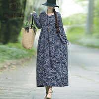 EaseHut nowa moda jesienna, drukowana sukienka dla kobiet długa, maksi sukienki z długim rękawem wokół szyi sukienka vintage Baggy Casual vestido