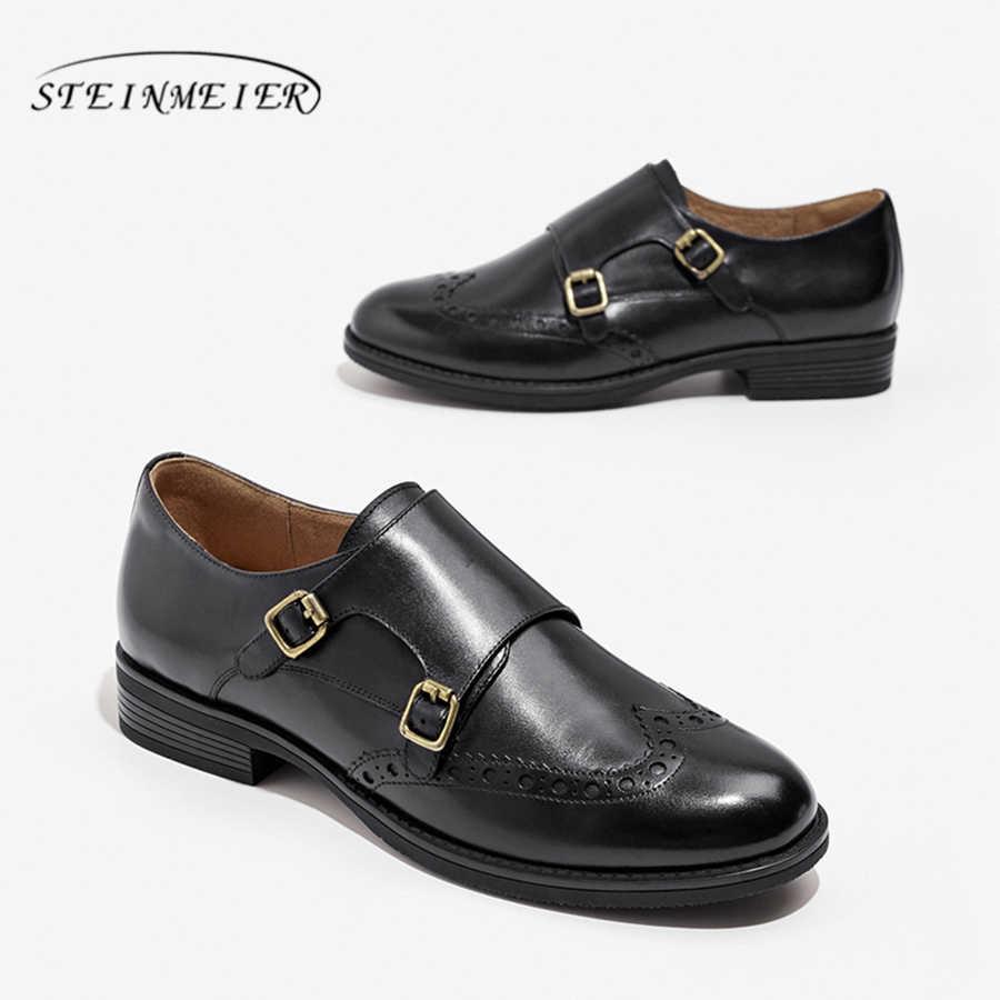 Vrouwen Echt Lederen brogue Flats Oxford Schoenen Vrouw Sneakers dame Vintage Casual schoenen voor Vrouwen Schoenen 2019 zwart bruin
