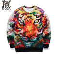 New 2016 Fashion Men pullovers color Tiger 3d animal Hoodies O-Neck  funny Graphic Sweatshirt hoodie Tops
