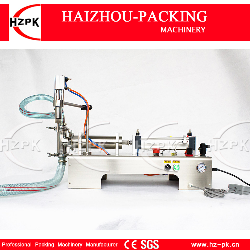 HZPK Semi-auto Liquid Filler Stainless Steel Single Filling nozzle Liquid Filling Machine For,Cosmetic,Juice 10-100ml G1WYD100 piston filler 20 100ml for shapoo