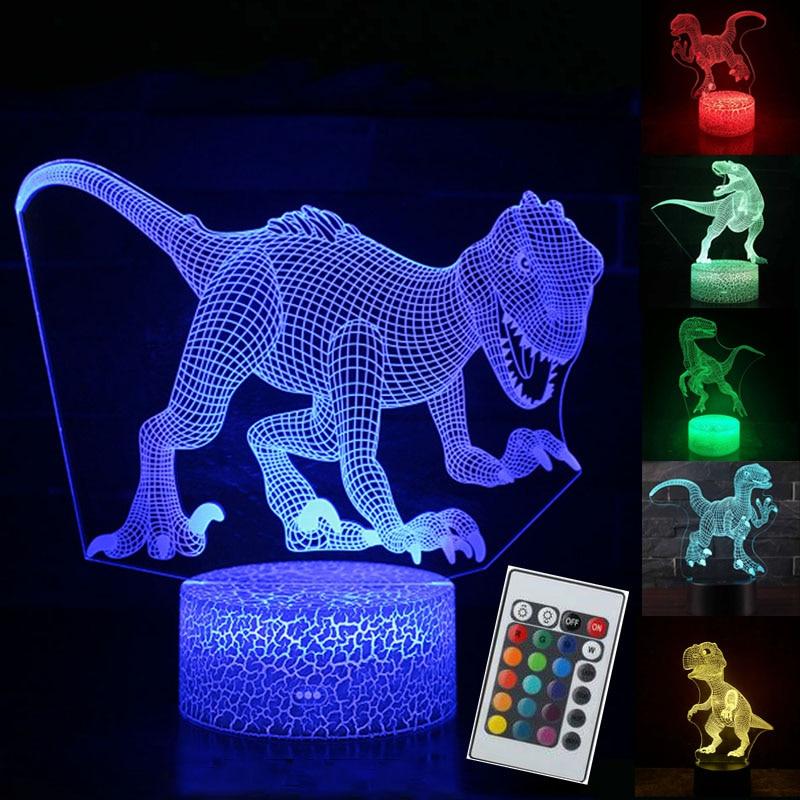 3D ilusión dinosaurio 7 colores LED Control remoto táctil dormir luz nocturna Animal luz brillante en la oscuridad niño juguete regalo de Cumpleaños