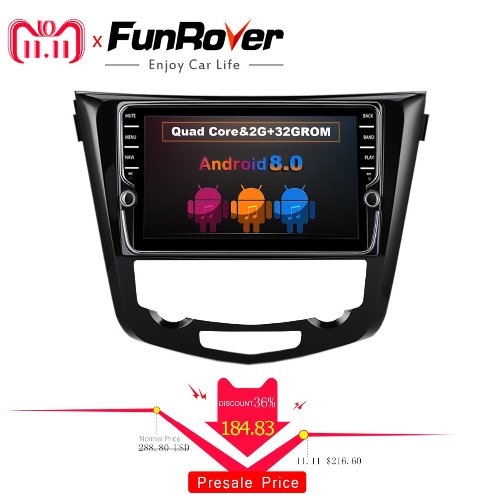 Funrover 9'' Car dvd Multimedia Radio Player for Nissan X-Trail Qashqai 2014 -2017 Auto Stereo navigation GPS wifi audio No dvd