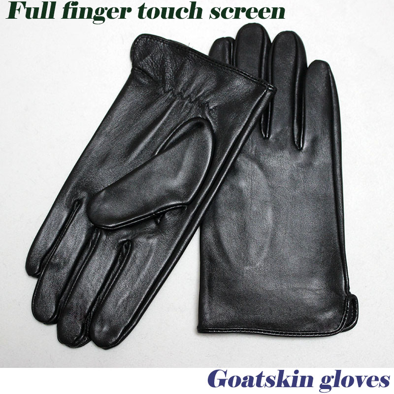 Goatskin Gloves Men's Thin Unlined 100% Full Leather New  Touch Screen Gloves Spring And Autumn Driving Driver's Gloves