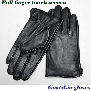 Goatskin gloves men's thin unlined 100% full leather new  touch screen gloves spring and autumn driving driver's gloves 2019 autumn 100