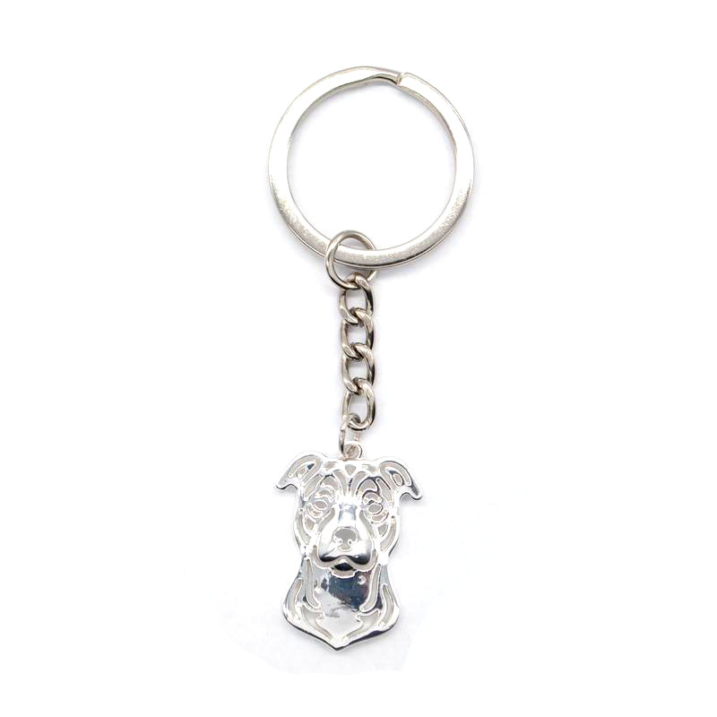 2019 Retail Women's Staffordshire Bull Terrier Key Chains Jewelry Metal Dog Pendant Key Chains