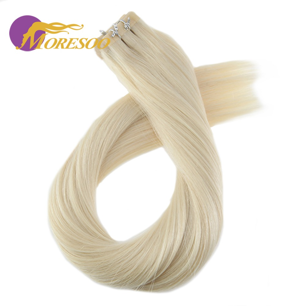 Moresoo Remy Tape Hair Extensions Real Brazilian Human Hair Skin Weft Platinum Blonde #6 ...