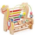 Alrededor de la perla alrededor del grano juegan con cuentas cofre del tesoro multifunción grandes juguetes de madera del bebé bloques del rompecabezas walker