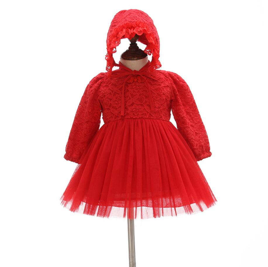 Newborn Retro Vintage Lace Red Baby Girl Dress 1st 2nd Birthday Infant Vestido Party Princess Dress with Hat