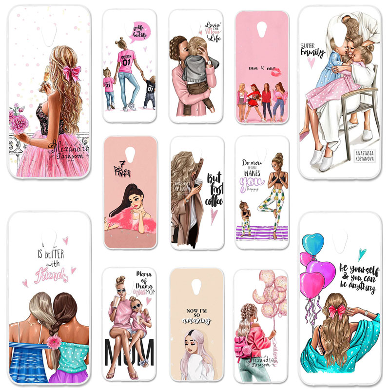 Uppbo <font><b>Phone</b></font> <font><b>Cases</b></font> For <font><b>Alcatel</b></font> U5 3G 4047 <font><b>4047D</b></font> 4047Y 5.0 inch Silicone Cover Black Brown Hair Baby Mom Girl Queen Soft TPU <font><b>Case</b></font> image