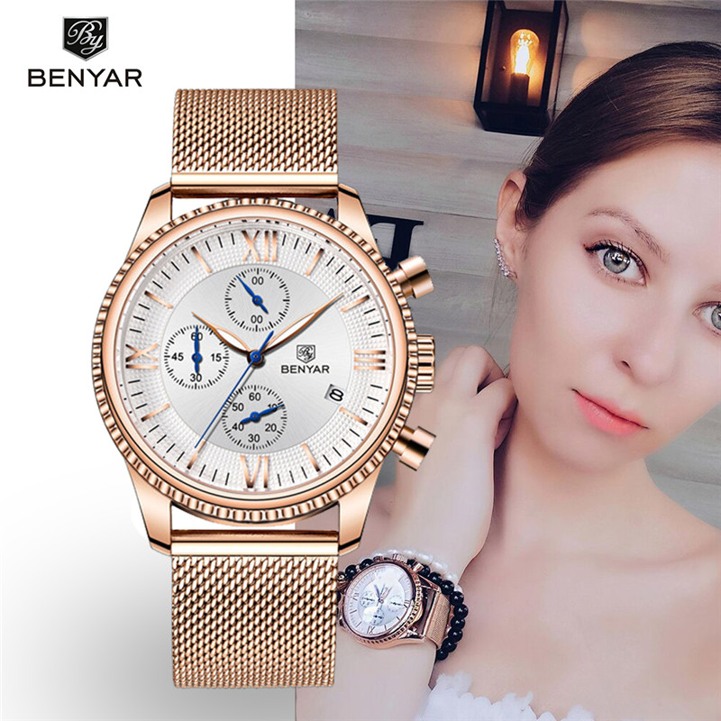 BENYAR Women's Watches Top Brand Luxury Ladies Chronograph Waterproof Clock Stainless Steel Quartz Wristwatches Relogio Feminino