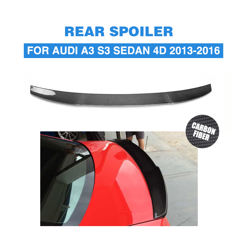 цена на For Audi A3 S3 8V sedan 2013 - 2016 Carbon Fiber Auto Rear Trunk spoiler Boot Lip Wing Rear Spoiler Car Sticker FRP Unpainted