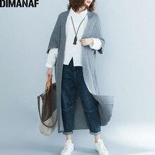 DIMANAF, женский свитер, длинные кардиганы, Вязанная женская одежда размера плюс, элегантная женская верхняя одежда, толстая, свободная, однотонная, серая, осень 2018