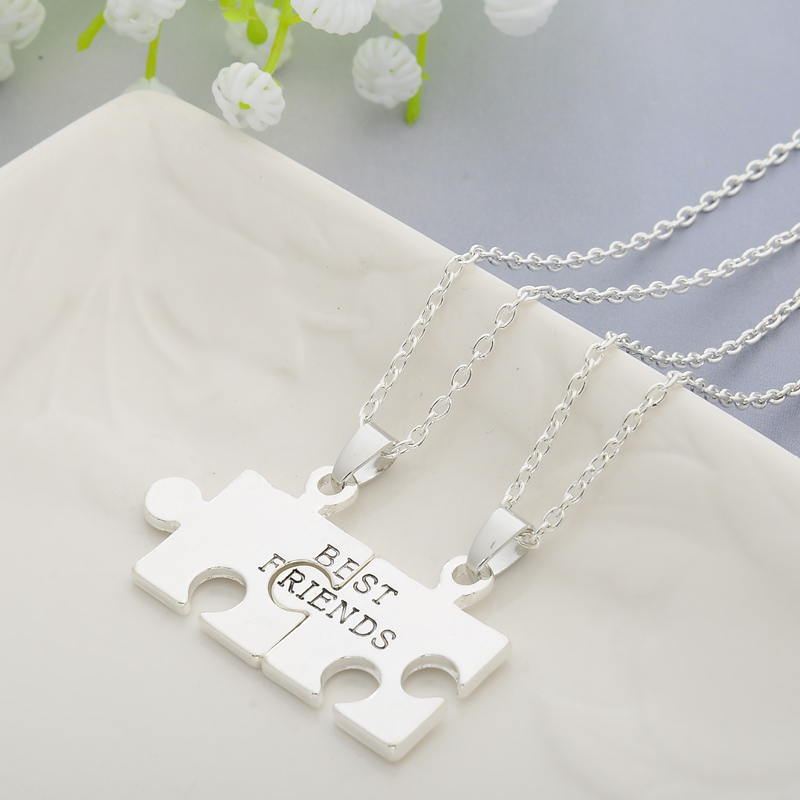 Necklace: 2pcs Puzzles Pendant Necklaces Friendship Necklace Best Friends Forever Creative Keepsake Memorial Day Christmas Gift For Friend