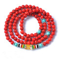 Red turquoise stone bracelets mantra lucky jewelry beads 6mm vintage jewelry Tibetan style Birthday gift women bracelet 0350