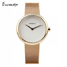 цена на 2019 Ladies gift  Rounded case watch Enmex simple design  steel steel brief face gloden plating quartz fashion wristwatch